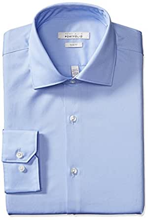 """Perry Ellis Men's Slim Fit Wrinkle Free Solid Twill Dress Shirt with Adjustable Collar, Light Blue, 15"""" Neck 32""""-33"""" Sleeve"""