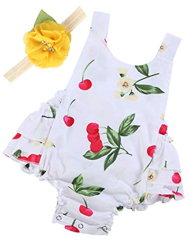 Baby Girl's Floral Ruffles Romper Summer Clothes,A23,7-12 Months(Size M) ()