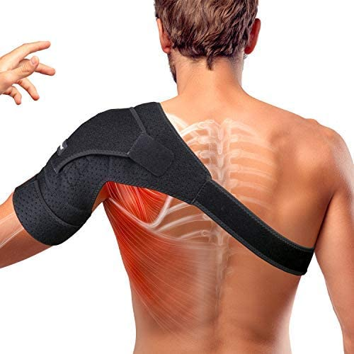 Thx4 Copper Magnetic Shoulder Brace, Compression Support Wrap Belt, Adjustable Stabilizer,Arm Injury Prevention for Dislocated Air Conditioner Joint, Labrum Tear, Pain, Arthritis, Bursitis, Scapula Tendonitis