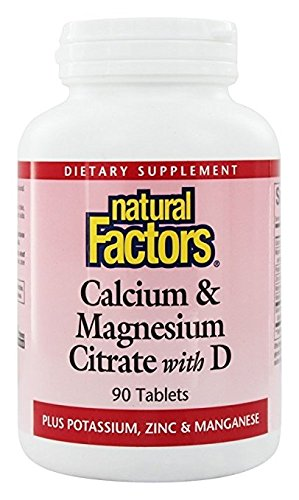 Natural Factors - Calcium & Magnesium Citrate with D, With Potassium, Zinc & Manganese, 90 Tablets (Tablets Dietary Supplement Same Plus)