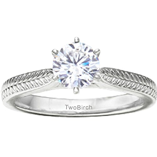 TwoBirch 1/3 ct. Diamonds Thin Engraved Pinched Shank Solitaire in 14k White Gold (0.33 ct. twt.)