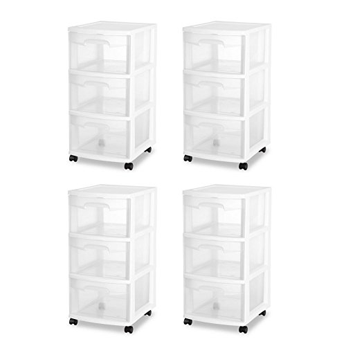 Sterilite 28308002 3 Drawer Cart, White Frame with Clear Drawers and Black Casters Pack of 4 (Cart Sterilite Craft)