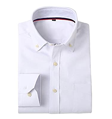 CATERTO Men's Casual Solid Long-Sleeve Oxford Dress Shirt