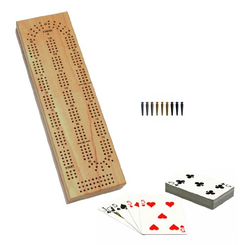 WE Games Cabinet Cribbage Set – Solid Wood Continuous 3 Track Board with Easy Grip Pegs, Cards and Storage Area
