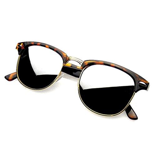 Emblem Eyewear - Premium Half Frame Horn Rimmed Sunglasses Metal Rivets (Flash Mirror | Tortoise Silver, - Sunglasses How Aviator Size To