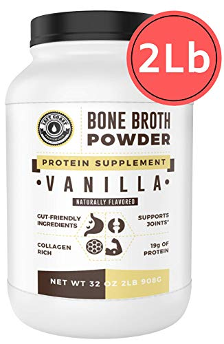 Bone Broth Protein Powder, Vanilla, Grass Fed, 2 lbs 42 Servings Large 32 oz Size Low Carb, Keto Friendly, Rich in Collagen, Non-GMO, Hormone Free by Left Coast Performance