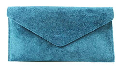 Wrist Verapelle Genuine Turquoise bag Underarm bag Large Genuine Suede bag Evening Shaped Envelope Party bag bag Leather Suede bag bag Italian Shoulder Clutch nwqwPTgU7