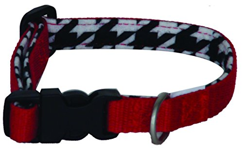 Lami-Cell Houndstooth Dog Collar - Large - Red Houndstooth