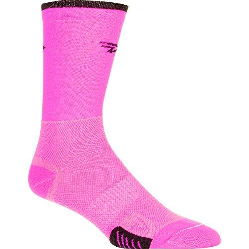 DeFeet Cyclismo 5in Socks Hi-Vis Pink/Black Stripe, S - Men's