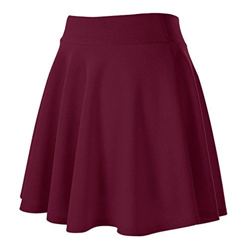 Basique Patineuse GoCo Femmes Rtro Fille Rouge Court Vin Jupe Midi Urban Plisse Elastique Jupe wxFqYw6I