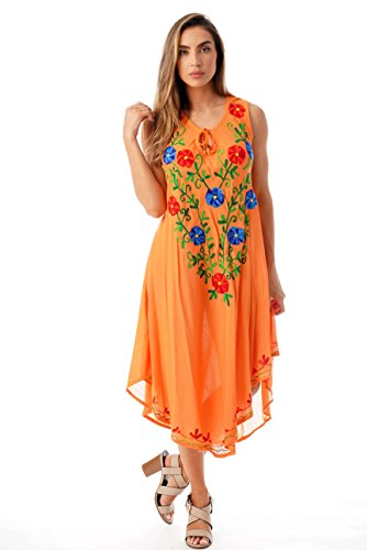 Riviera Sun Sleeveless Umbrella Dresses for Women 21852-ORG-3X Orange