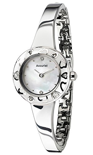 Accurist LB1844W Ladies All Silver Charmed Enamel Watch