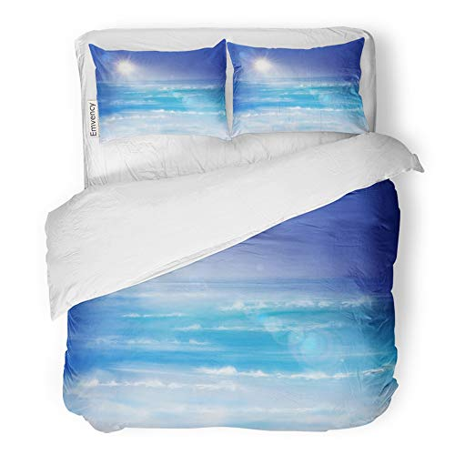 Emvency 3 Piece Duvet Cover Set Brushed Microfiber Fabric Breathable Blue Shell Sunrise on The Sea Beach Seascape Aquatic Calm Cancun Caribbean Bedding Set with 2 Pillow Covers King Size