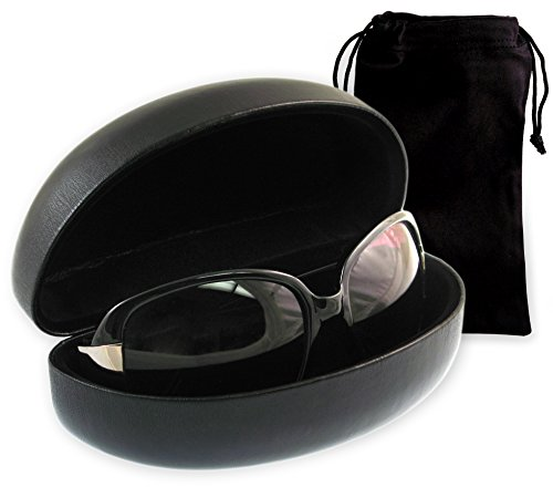 MyEyeglassCase Unisex-Adult's Best Classic Sunglasses Case, Hard Metal, Large and X-Large, Black - Sunglasses Shell