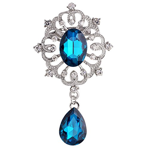 Sanwood Noble Rhinestone Crystal Brooch Pin with Teardrop Pendant Clip (Peacock Blue ) (Rhinestone Drop Clip)