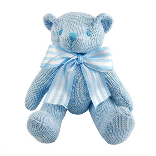 Athoinsu Classic Blue Teddy Bear Knitted Handmade Movable Joints Plush Toy with Bow-Tie, Children's Day Valentine's Gift for Girls Kids Christmas Birthday
