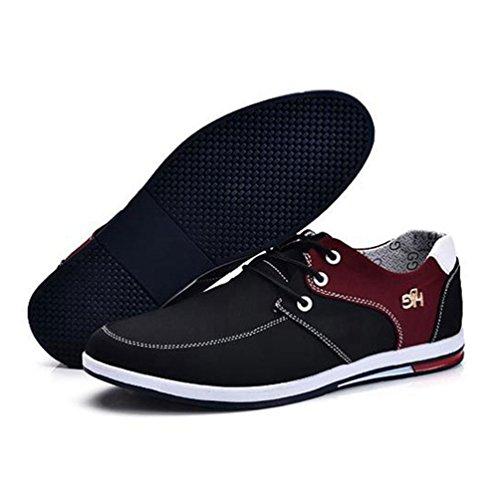 Ronde Caoutchouc Feidaeu Tête Confortable Noir Mens Chaussures Plat Connexion up Respirante Semelle En Relaxed Dentelle gxYUA4wY