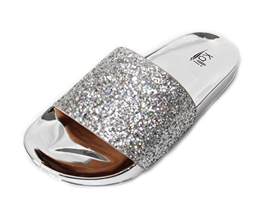 s Bling Sparkly Star Slides Sandals (10 B(M) US, Silver) (Silver Slides)
