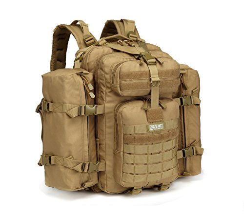 Military Tactical Backpack 3 Day Pack Waterproof Outdoor Gear for Camping Hiking,Tan + 2 Detachable packs