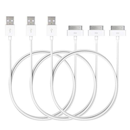 iPhone 4s Câble, JETech 3-Pack Sync USB et Câble de Chargement pour iPhone 4/4S, iPhone 3G/3GS, iPad 1/2/3, iPod, tour, 1 Mètres (3-Pack) - 0166