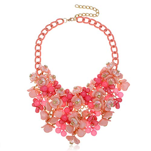 HoBST Women Hot Pink Statement Necklaces Pendants Transparent Big Resin Crystal Flower Choker ()