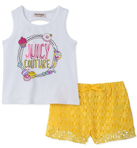 Juicy Couture Girls' Big' 2 Pieces Shorts Set, White/Yellow, ()