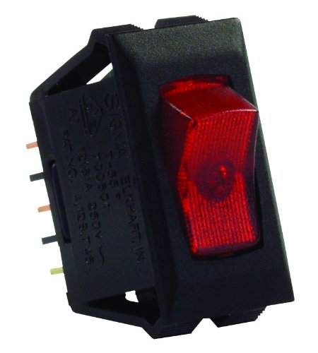 Chrome Jr (JR Products 12525 Red/Black SPST Illuminated On/Off Switch)