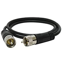 TruckSpec TS-3CC Black 3' CB Antenna Coax Cable with PL-259 Connector