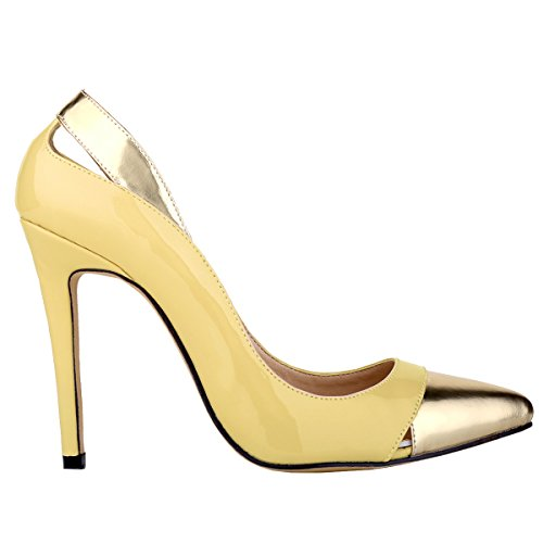 Loslandifen Womens Closed Pointed Toe High Heels Mix Gold Leather Pumps Yellow qZKfb2y