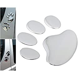1 Pairs Matchless Popular 3D Pets Paw Car Sticker Window Badge Dog Foot Prints Animal Decal Colors Silver