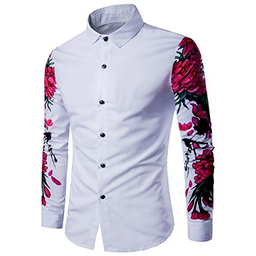 AOWOFS Men's Dress Shirt Fashion Floral Print Slim Long-Sleeved White Casual Shirt from AOWOFS