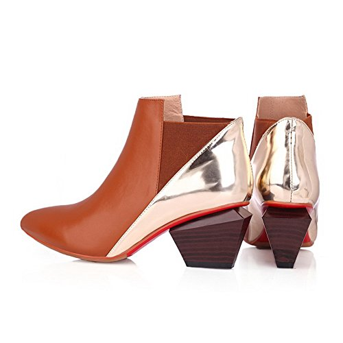 Heels AmoonyFashion Pointed Kitten Toe Boots with Closed Women's Brown Tip Toe qqSfPCY