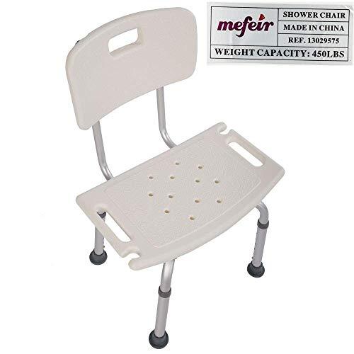 Mefeir FDA 450LBS Medical Shower Chair Bath Seat,Upgraded Aluminum Leg