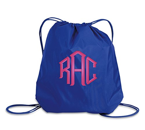 All about me company Colorblock Cinch Bag | Personalized Monogram/Name Sackpack Bag (Royal)