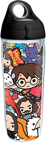 (Tervis 1267940 Harry Potter - Group Charms Tumbler with Wrap and Black with Gray Lid 24oz Water Bottle, Clear)