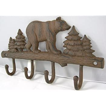 Cast Iron Bear Wall Key Rack Holder 4 Hooks Coat Hook Home Decor
