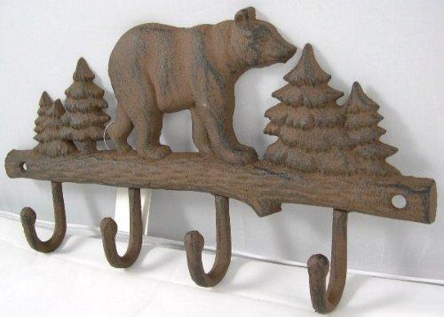 (Cast Iron Bear Wall Key Rack Holder 4 Hooks Coat Hook Home Decor)