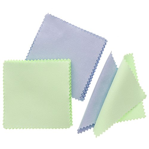 JUANYA 100pcs Jewelry Cleaning Cloth Polishing Cloth for Sterling Silver Gold Platinum (Green Blue)