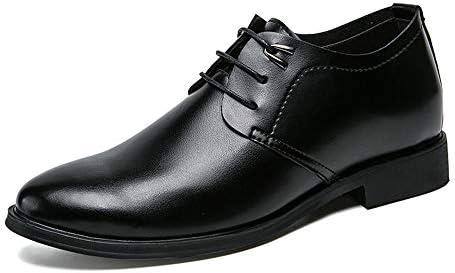 ラウンドトウレースアップオックスフォードレザーレースアップフォーマルシューズ身長3cmメンズブラックドレスシューズ 快適な男性のために設計