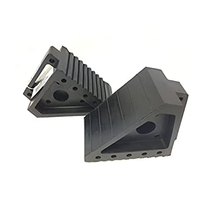 MaxxHaul 2 pack 70472 Solid Rubber Heavy Duty Black Wheel Chock, 8