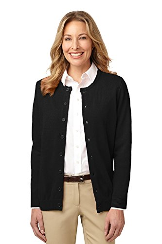 Port Authority Women's Value Jewel Neck Cardigan Sweater L - Sweater Neck Jewel