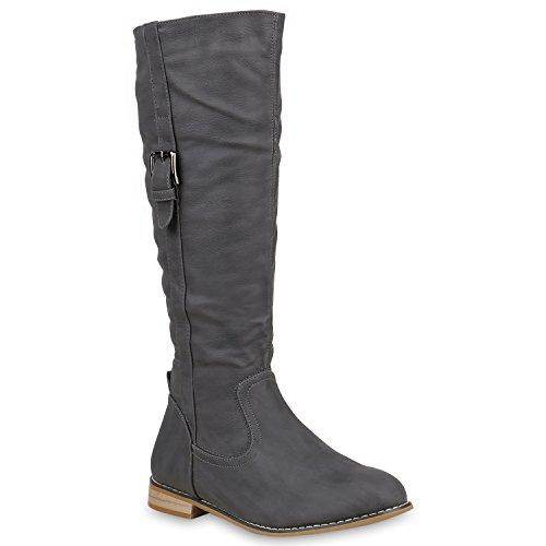 Damen Reiterstiefel Lack Leder-Optik Stiefel Nieten Boots Schuhe Flandell Grau Schnallen