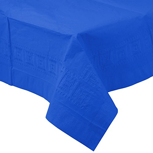 713147B 54'' x 108'' Cobalt Blue Tissue / Poly Table Cover - 24/Case By TableTop King by TableTop King