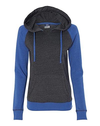 MV Sport W17127 Women's Harper Raglan Hooded Pullover Sweatshirt Hyper Blue/ Charcoal M ()