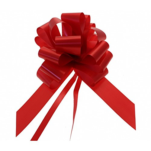 20 x 50mm (2'') Rapid Satin Pull Bows - RED for Gift Decorations, Flower Bouquets & Arrangements, Baskets, Wedding Cars, Floral Tributes, Arts & Crafts, Christmas Hampers by Pull Bows & Ribbon