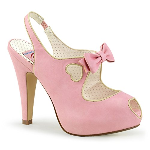 Pin Up Couture BETTIE-03 Womens Cut Out Bow Slingback High Stiletto Heel Sandal, Color:Baby Pink Faux Leather, Size:9