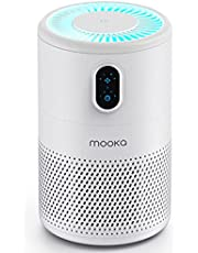 MOOKA Air Purifier for Home Large Room up to 430ft2, H13 True HEPA Air Filter Cleaner, Odor Eliminator, Remove Allergies Smoke Dust Pollen Pet Dander, Night Light(Available for California)