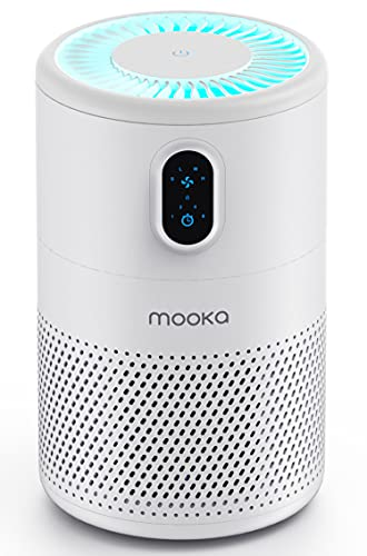 MOOKA Air Purifier for Home Large Room up to 430ft², H13 True HEPA Air Filter Cleaner, Odor Eliminator, Remove 99.97% Allergies Smoke Dust Mold Pollen Pet Dander, Night Light(Available for California)