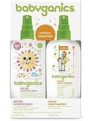 Babyganics Baby Sunscreen Spray SPF 50, 6oz Spray Bottle + Natural Insect Repellent 6oz Spray Bottle Combo Pack