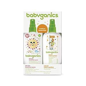 Babyganics Baby Sunscreen Spray 50 SPF and Bug Spray, 6oz each, Packaging May Vary